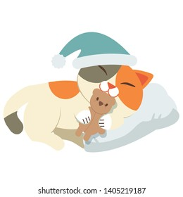 The character of cat sleeping on the white pillow and white background. The cat sleeping and wear a hat and hugging a brown teddy bear doll.hope it have a sweet dream a cute cat in flat vector style