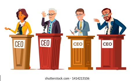 Character Ceo Talking From Tribune Set Vector. Man And Woman Orator Ceo Public Speaking From Rostrum With Microphone. Businessman Director Leader Speech Or Presentation Flat Cartoon Illustration