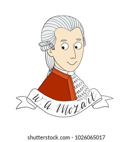Character children book famous pianist Wolfgang Amadeus Mozart vector illustration