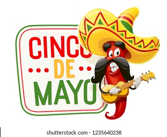 Character for Cinco de Mayo celebration. Red pepper jalapeno in suit mariachi with guitar and sombrero. Mexicano guitarist ethnic play music for national Mexico holiday. Isolated. Vector illustration.