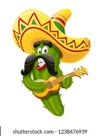 Character for Cinco de Mayo celebration. Green cactus jalapeno in suit mariachi with guitar and sombrero. Mexicano guitarist ethnic play music for national Mexico holiday. Vector illustration.