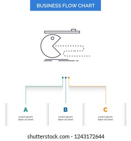 Character, computer, game, gaming, pacman Business Flow Chart Design with 3 Steps. Line Icon For Presentation Background Template Place for text
