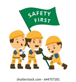Character construction working hold flag safety first : safety concept on white background. vector illustration