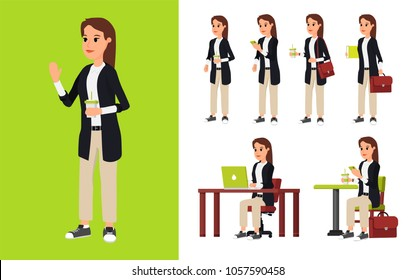 Character constructor. Beautiful young businesswoman in different poses at work. Working space. View 3/4. Infographic template. Business woman working character set. Flat vector illustration.