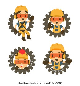 Character Constructor in gear icon. Safety concept. vector, illustrator