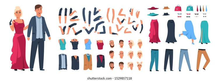 Character constructor. Happy man and woman animation kit with casual clothes with different body parts and poses. Vector illustration style guy and girl with sad emotions face set on white background