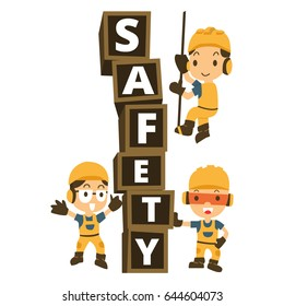 Character Constructor in a yellow construction helmet and Box word safety.vector, illustrator