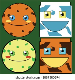 Character cookies and milk with different flavour. Illustration vector graphic