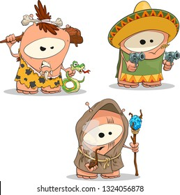 Character Costumes Set For The Party (Part 1). Vector Drawing of Funny Cartoon Creature in Different Costumes