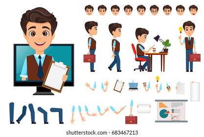 Character creation set. Young business man with various emotions, in different poses. Cartoon businessman. Vector illustration