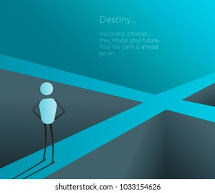 Character at a crossroad making a future life changing decision. Vector illustration for future, destiny, career, decision concepts