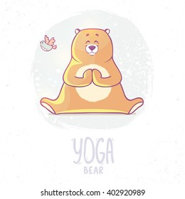 Character cute and beautiful bear practice of yoga. Vector illustration