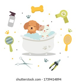 The character of cute cat and dog in the bathtub with tool of pet grooming in flat vector style. illustation for graphic,content ,greeting card.