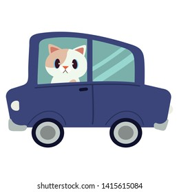 The character cute cat driving a blue car. The cat driving a blue car on the white background. cat look upset and unhappy. cute cat in flat vector style.