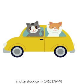 The character cute cat driving a yellow car. The cat driving a yellow car on the white background. cat smiling and   they look have happyness. cute cat in flat vector style.