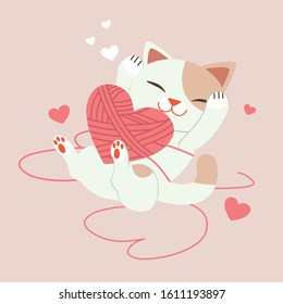 The character of cute cat playing with yarn in flat vector style. Illustration about love and valentin's day for content , banner, sticker label and greeting card.