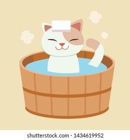 The character of cute cat take a japanese hot spring bath. the cat taking an onsen.it look happy and relaxing.cat Bathing in a Barrel in an onsen bath outdoor.the character of cute cat in flat vector