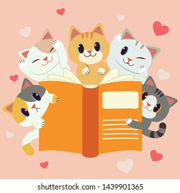 The character of cute cats with a big book. we  love reading. back too school. the cat reading a book on pink background. a lot of heart on the pink background.the character of cute cat in flat vector