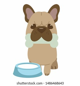 The character of cute french bulldog bike a bone and have bowl of milk near of dog.The french bulldog sitting in the white background. The character of cute french bulldog in flat vector style.