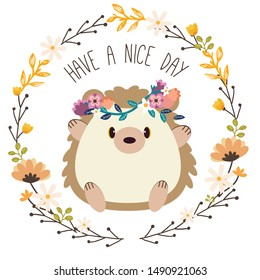 The character of cute hedgehog wear  Flower crown sitting in the in flower ring on the white background in flat vector style. Illustration about graphic,content , banner, greeting card.