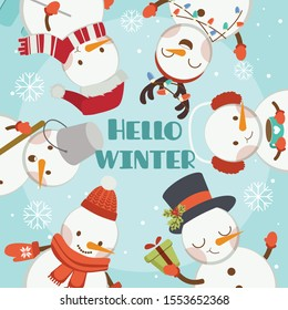 The character of cute snowman and friends in the blue frame say hello winter. The many cute snowman dance like circle in the poster. The character of cute snowman in flat vector style.