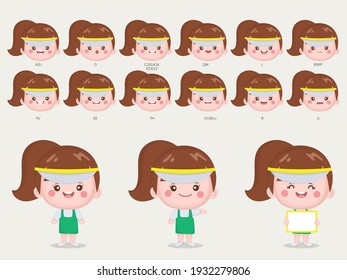 Character for cute woman animation mouth and face.
