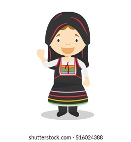 Character from Cyprus dressed in the traditional way Vector Illustration. Kids of the World Collection.