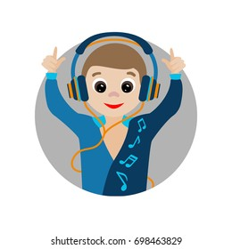 Character dancer in headphones listening to music isolated In a circle on white background. Vector image for kindergarten, postcards, education