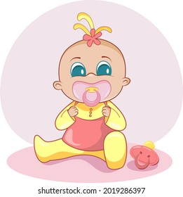character design baby girl with pink pacifier