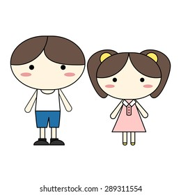 character design boy and girl vector