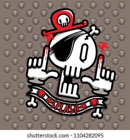 character design cartoon head pirate skeleton