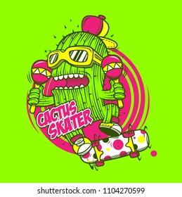 character design cartoon monster cactus street art green blackground