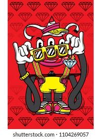 character design cartoon monster red triangle eye streetart