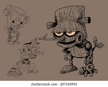 Character design cartoon of pinocchio Pen strokes
