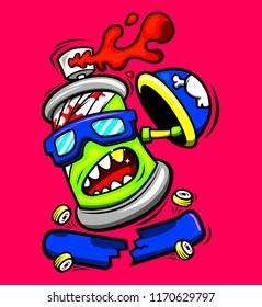 character design cartoon spray boy play skateboard  broken and splash color