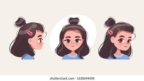 Character design. Cute girl's portrait.