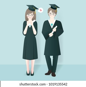 Character design with girl and boy graduated. Invitation and celebration card template for graduation party. Vector illustration.