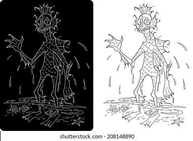 Character design Halloween cartoon swamp monster Black and White