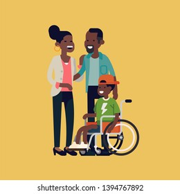 Character design on African parents and their limited abilities son together smiling Cheerful African family with disabled child in a wheelchair flat design vector illustration