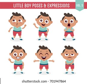 Character design set of a cute little black boy in different poses. Cartoon style illustration, isolated on white background. Body gestures and facial expressions. Vector illustration. Set 5 of 8.