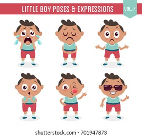 Character design set of a cute little black boy in different poses. Cartoon style illustration, isolated on white background. Body gestures and facial expressions. Vector illustration. Set 7 of 8.