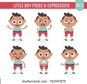 Character design set of a cute little black boy in different poses. Cartoon style illustration, isolated on white background. Body gestures and facial expressions. Vector illustration. Set 3 of 8.