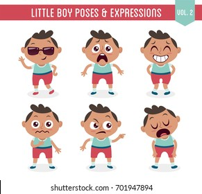 Character design set of a cute little black boy in different poses. Cartoon style illustration, isolated on white background. Body gestures and facial expressions. Vector illustration. Set 2 of 8.