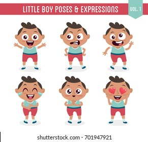 Character design set of a cute little black boy in different poses. Cartoon style illustration, isolated on white background. Body gestures and facial expressions. Vector illustration. Set 1 of 8.