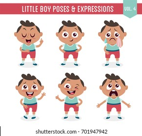 Character design set of a cute little black boy in different poses. Cartoon style illustration, isolated on white background. Body gestures and facial expressions. Vector illustration. Set 4 of 8.