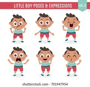 Character design set of a cute little black boy in different poses. Cartoon style illustration, isolated on white background. Body gestures and facial expressions. Vector illustration. Set 6 of 8.
