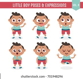 Character design set of a cute little black boy in different poses. Cartoon style illustration, isolated on white background. Body gestures and facial expressions. Vector illustration. Set 8 of 8.