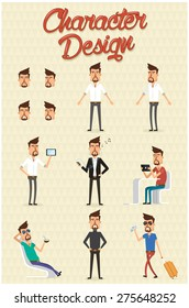 Character design set with different positions.Vector illustration