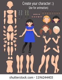 character design. Teen girl, for animation. Vector illustration