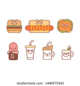 Character design of various kinds of food, drink, etc.